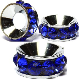 2pcs Charms 10mm Circle Rhinestone Blue BD2019