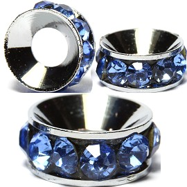 2pcs Charms 10mm Circle Rhinestone Blue Light BD2020