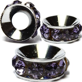 2pcs Charms 10mm Circle Rhinestone Purple BD2027