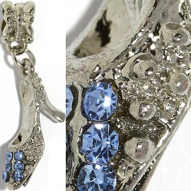 2pcs Charms Rhinestone Shoe Silver Blue BD2162