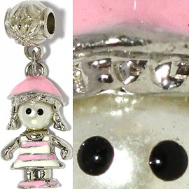 2pc Charm Girl Pearl Head White Pink BD2163
