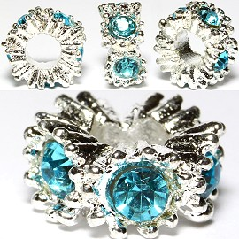 3pcs Charm Rhinestone Round Silver Turquoise BD2174