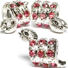 3pc Charm Snake Rhinestone Pink Screw BD2227
