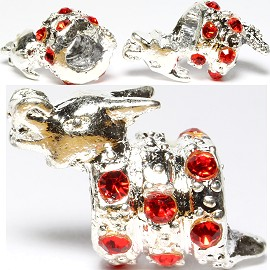 3pc Charm Dragon Rhinestone Red Screw BD2229