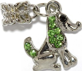 3pc Charm Dog Rhinestone Silver Green BD2240