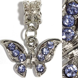 2pc Charm Butterfly Rhinestones Blue BD2249
