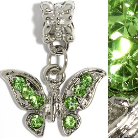 2pc Charm Butterfly Rhinestones Green BD2253