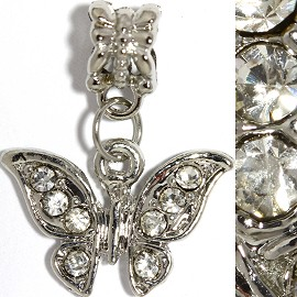 2pc Charm Butterfly Rhinestones Silver Clear BD2254