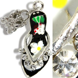 2pcs Charms Rhinestone Lady's Shoes Black BD2257