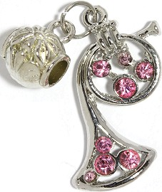 3pc Charm French Horn Rhinestone Pink BD2262
