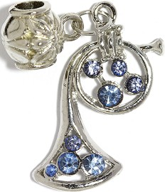 3pc Charm French Horn Rhinestone Blue BD2265