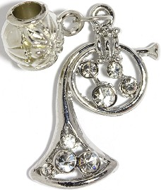 3pc Charm French Horn Rhinestone Silver Clear BD2266