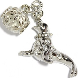 2pc Charm Seal Rhinestone Silver Clear BD2270