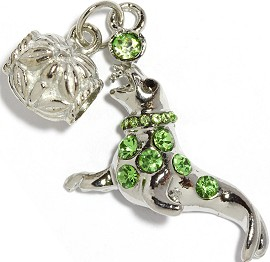 2pc Charm Seal Rhinestone Green BD2273