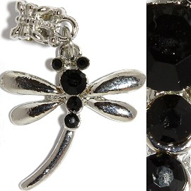 2pc Charm Rhinestone Dragonfly Black BD2289