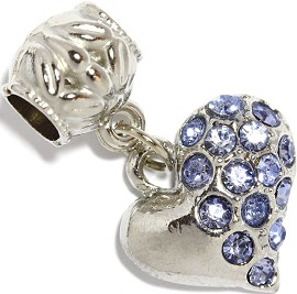 2pc Charm Rhinestone Heart Blue BD2293