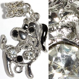 2pc Charm Dog Rhinestone Silver Clear Black BD2327