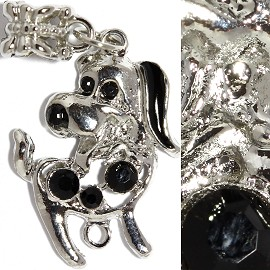 2pc Charm Dog Rhinestone Silver Black BD2328
