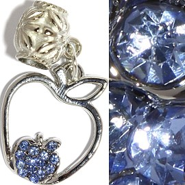 3pc Charm Apple Rhinestone Blue BD2331