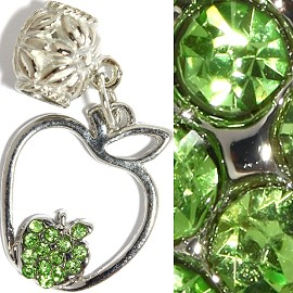 3pc Charm Apple Rhinestone Green BD2332