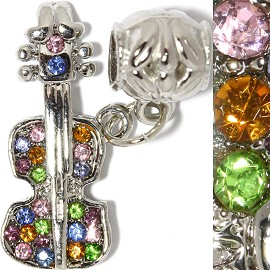 2pc Charm Violin Rhinestone Multi Colored BD2336