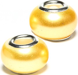 2pcs Beads Pearl Smooth Yellow BD2352