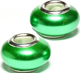 2pcs Beads Pearl Smooth Green BD2354