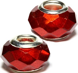 2pcs Beads Crystal Cut Brown Red BD2365