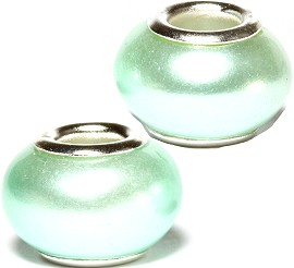 2pcs Beads Pearl Smooth Very Light Turquoise BD2567