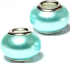 2pcs Beads Pearl Smooth Light Turquoise BD2622