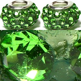 2pcs Rhinestone Beads 15x9mm Green On Green BD2631