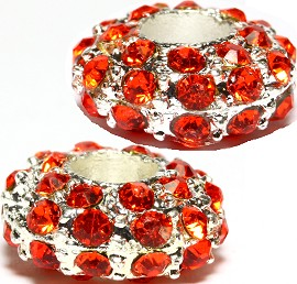 2pcs Rhinestone Charms Round Orange Silver BD2685