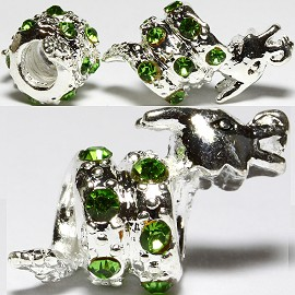 3pc Charm Dragon Rhinestone Green Screw BD2686