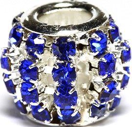 1pc Charm Rhinestone Round 12x10mm Blue BD2699