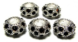 Beads 3pcs Charms Pack Silver Black BD270