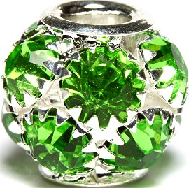 1pc Charm Rhinestone Round 13x12mm Green BD2715