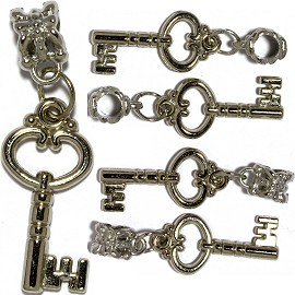5pcs Crystal Charms Key Silver BD2739