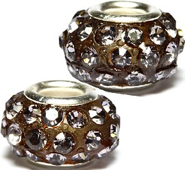 2pcs Rhinestone Beads Round Brown 14x8mm BD2743