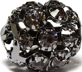 1pc Charm Rhinestone Ball Dark Gray19x19mm BD2825