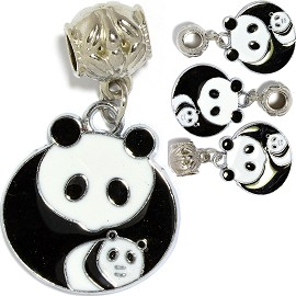 4pcs Charms Panda Round Black White BD2841