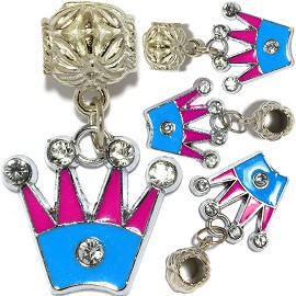 4pc Charm Crown Magenta Sky Blue Rhinestone BD2855