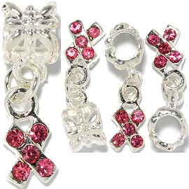 3pc Charm X Bow Pink Silver BD2908