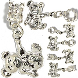 5pc Charm Teddy Bear Silver White BD2909