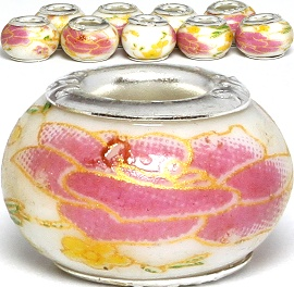 8pcs Ceramic Bead Flower White Pink Yellow BD2988