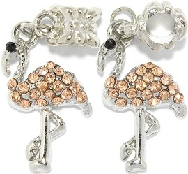 Bead 2pc Charm Flamingo Peach Silver BD2996