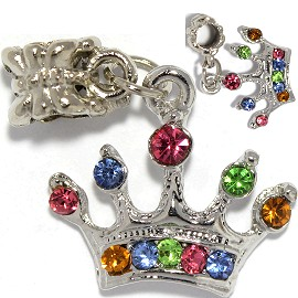 2pcs Charm Crown Rhinestone Multi Color BD3002