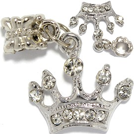 2pcs Charm Crown Rhinestone Silver Clear BD3003