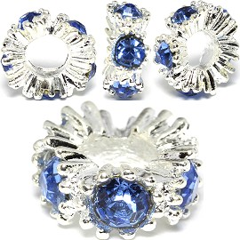 3pcs Charm Rhinestone Round Silver Blue Light BD3005