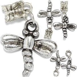 5pcs Charms Dragonfly Silver BD3039
