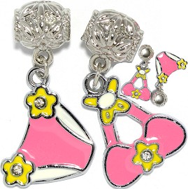 4pc Charm Lady's Swimwear Pink Yellow BD3058